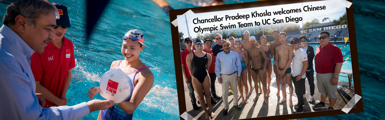"Chancellor Pradeep"" Khosla welcomes Chinese Olympic Swim Team to UC San Diego"