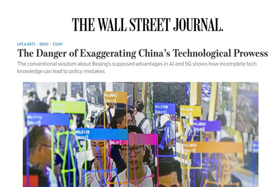 "Screenshot of the Wall Street Journal op-ed ""The Danger of Exaggerating China's Technological Prowess"""
